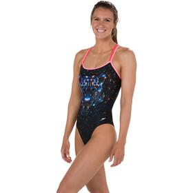 speedo Diamondize Double Crossback Swimsuit Women Black/Bubblegumpink/Pink